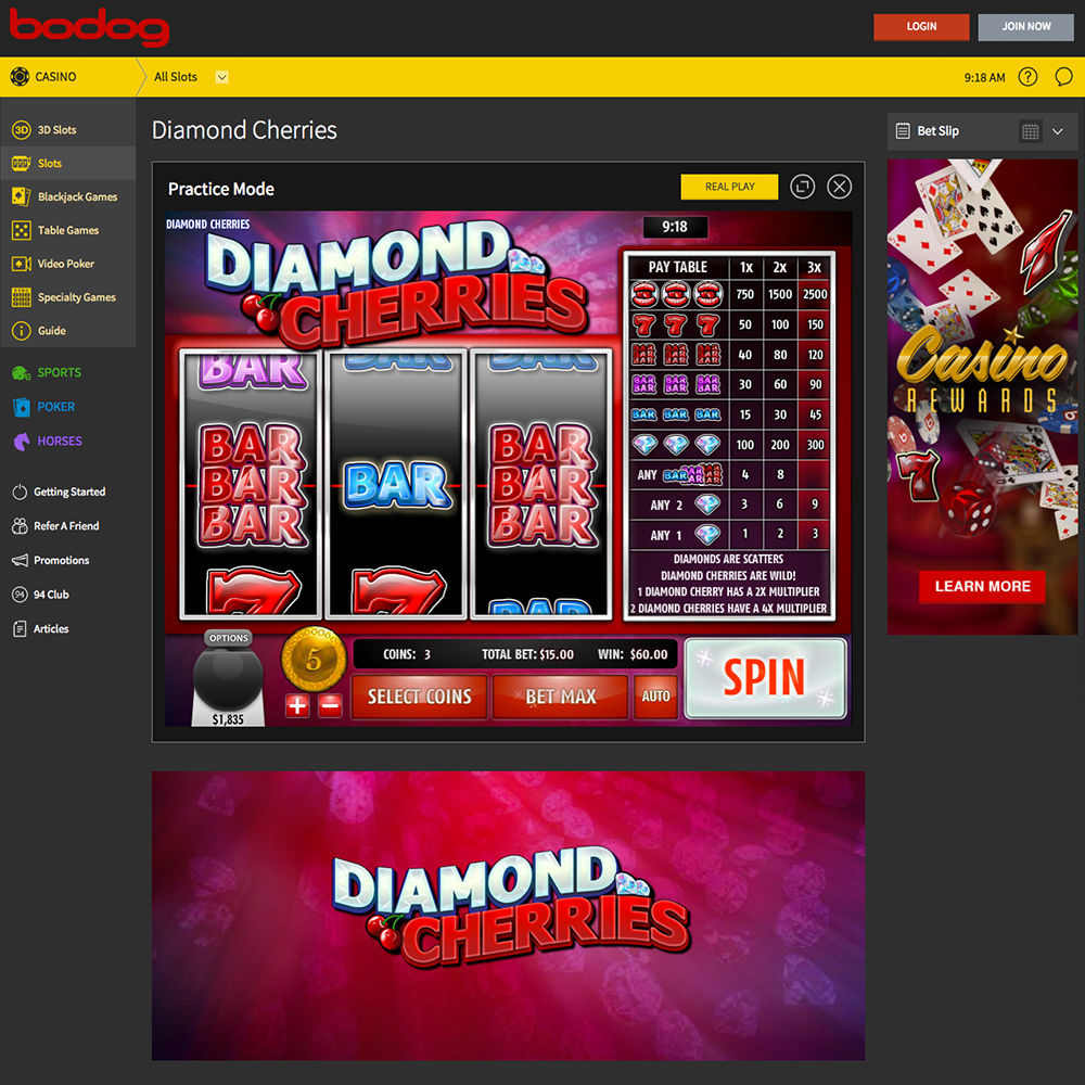 Bodog Lobby Screenshot